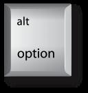 De Option, of Alt-toets op een Mac-toetsenbord
